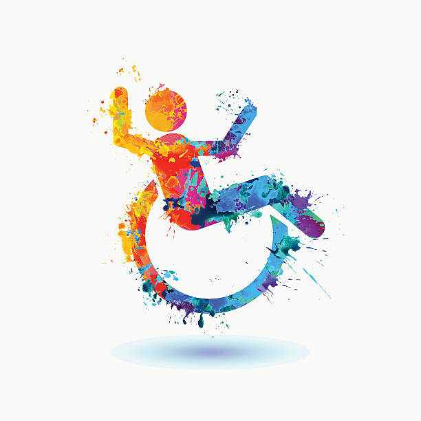 bright  icon of happy disabled people - wheelchair sports stock illustrations, clip art, cartoons, & icons