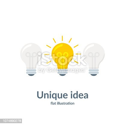 Bright idea concept with light bulb. Unique idea. Vector illustration isolated on white background