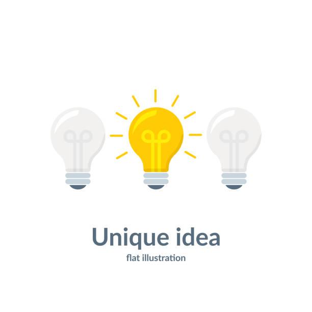illustrazioni stock, clip art, cartoni animati e icone di tendenza di bright idea concept with light bulb. unique idea. vector illustration isolated on white background. - ispirazione