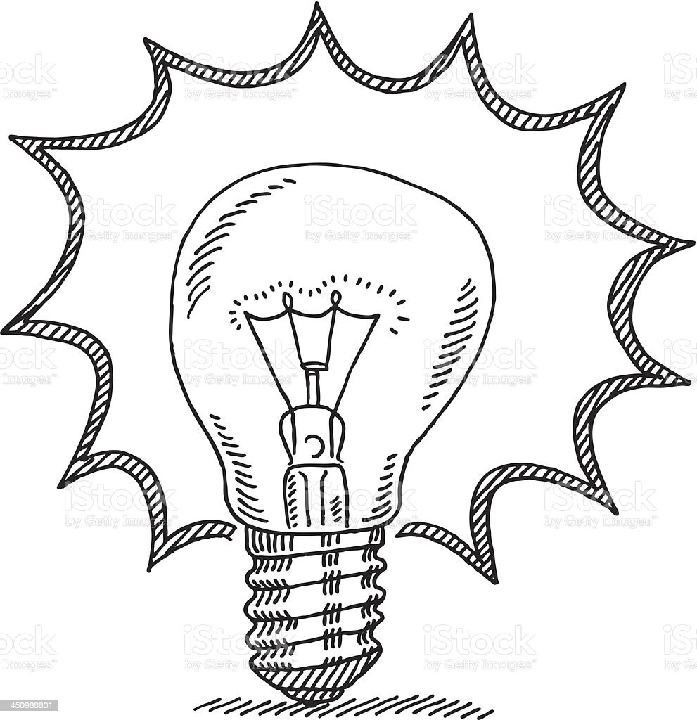 Bright Idea Light Bulb Drawing royalty-free stock vector art