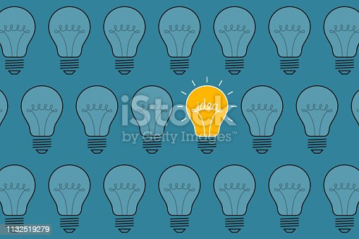 Bright idea-bulb is among ordinary light bulbs. Creativity concept