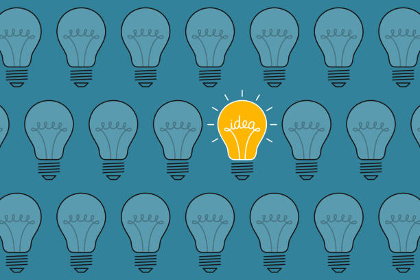 Bright idea-bulb Bright idea-bulb is among ordinary light bulbs. Creativity concept brainstorming stock illustrations