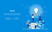 Bright ideas - flat design style colorful banner on blue background with copy space for text. International business team, books, lightbulb. Disabled person working with a laptop. Inspiration concept