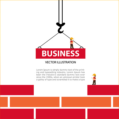 Bright illustration on the theme of Building. The crane hook lowers down the red brick blocks. Template construction sites or other projects.
