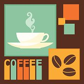 bright colored illustration on the theme of coffee time for use in design for card, invitation, poster, banner, placard, menu or billboard cover
