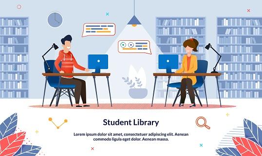 Bright Illustration Student Library at University.