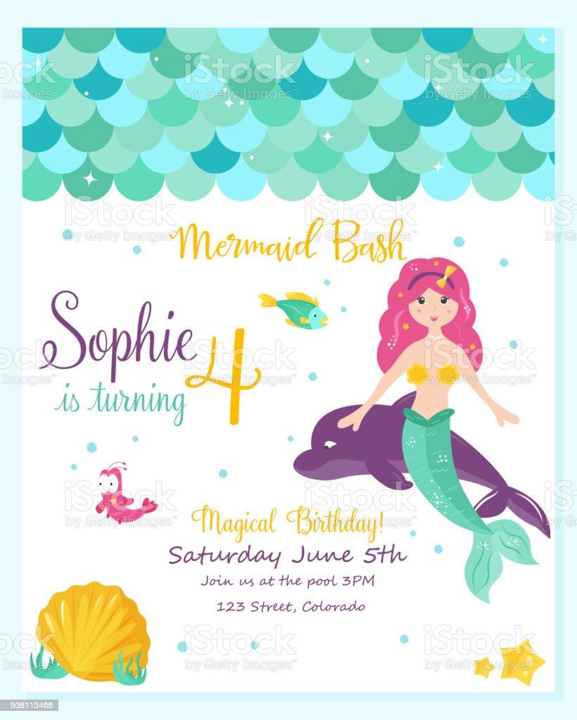 Bright Invitation Card With Cute Fairy Mermaid Stock Vector Art ...