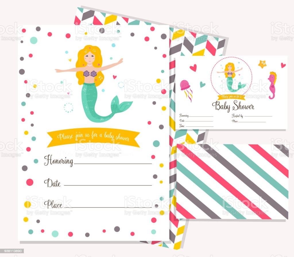 Bright invitation card with cute fairy mermaid stock vector art bright invitation card with cute fairy mermaid royalty free bright invitation card with cute fairy stopboris
