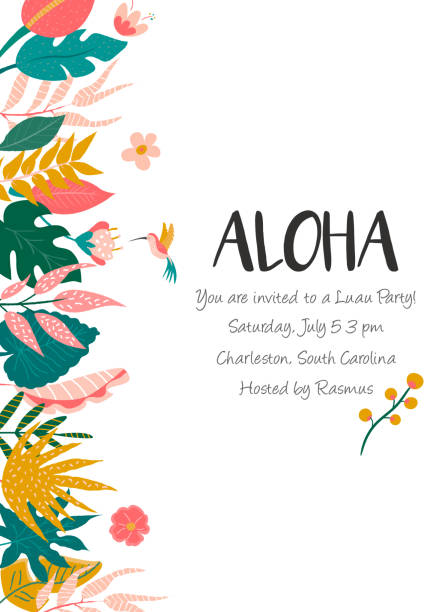 Bright invitation with flowers and palm leaves. Party invitation template, greeting card, banner Bright invitation with flowers and palm leaves. Party invitation template, greeting card, banner. banana borders stock illustrations