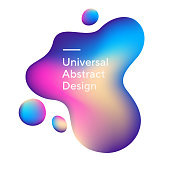 Bright irregular graphic bubbles. Universal colorful shapes, wavy curves. Blue, pink, and beige background with white text. Layout for ad flyer, web page or poster. Vector illustration.
