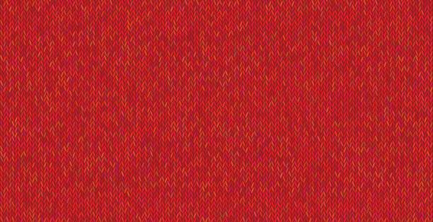 Bright knitted texture on red background. vector art illustration