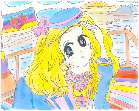 Bright Lady Cruise Stewardess in Uniform Children's Color Illustration Anime Style with Vector 2021.