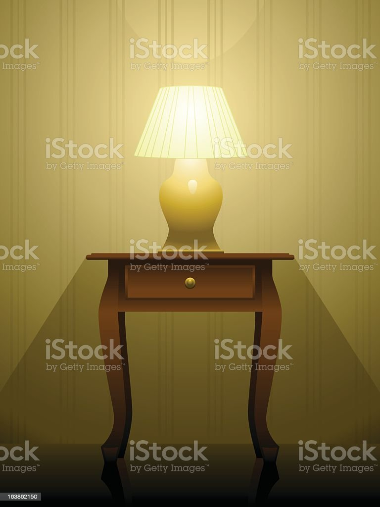 Bright lamp on a wooden side table vector art illustration
