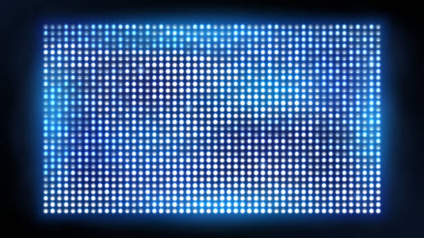 bright led projection screen. cinema and entertainment vector display - reflektor światło elektryczne stock illustrations