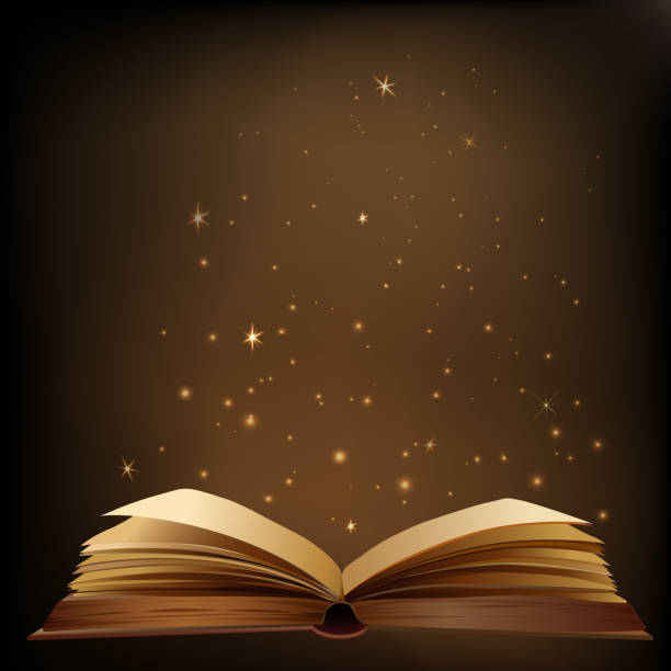 Bright light and glare from an open book Bright light and glare from an open book book backgrounds stock illustrations