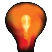 Bright lightbulb inside a big lightbulb over white. Vector illustration