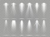 Bright lighting projector beams on theater stage. Rays of studio floodlights, white spotlight light and floodlight lights inside theater studio vector set collection on checkered background