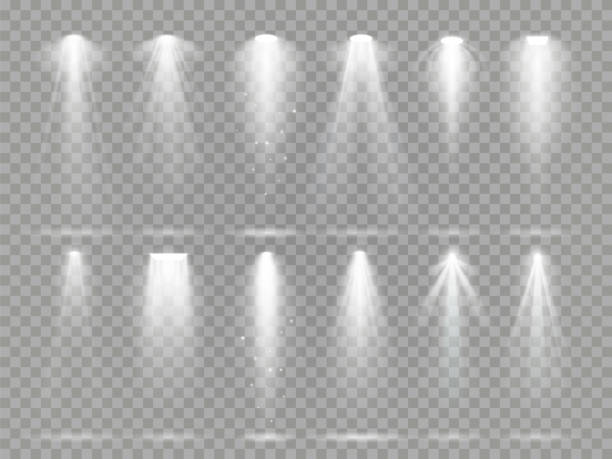 bright lighting projector beams on theater stage. rays of studio floodlights, white spotlight light and floodlight lights vector set - reflektor światło elektryczne stock illustrations