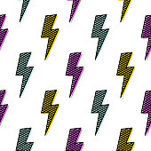 Bright lightning bolt seamless pattern fun design. Pop art funky background artistic texture.
