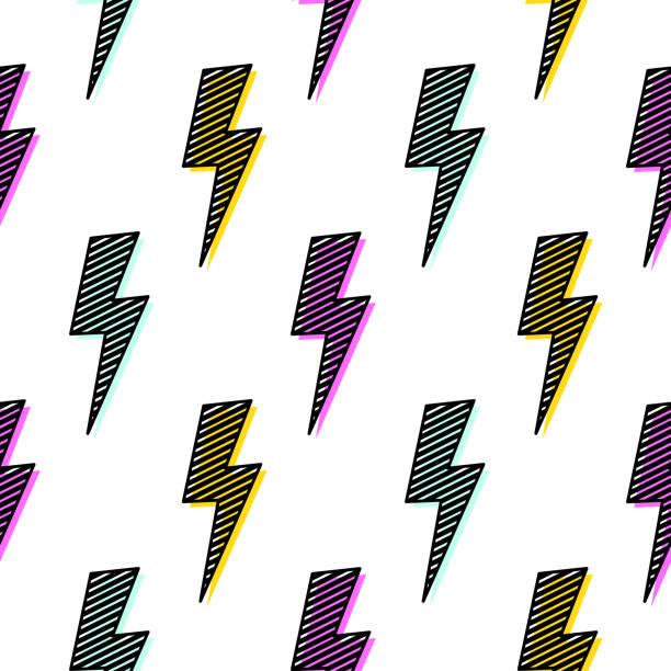bright lightning bolt seamless pattern fun design - szałowy stock illustrations