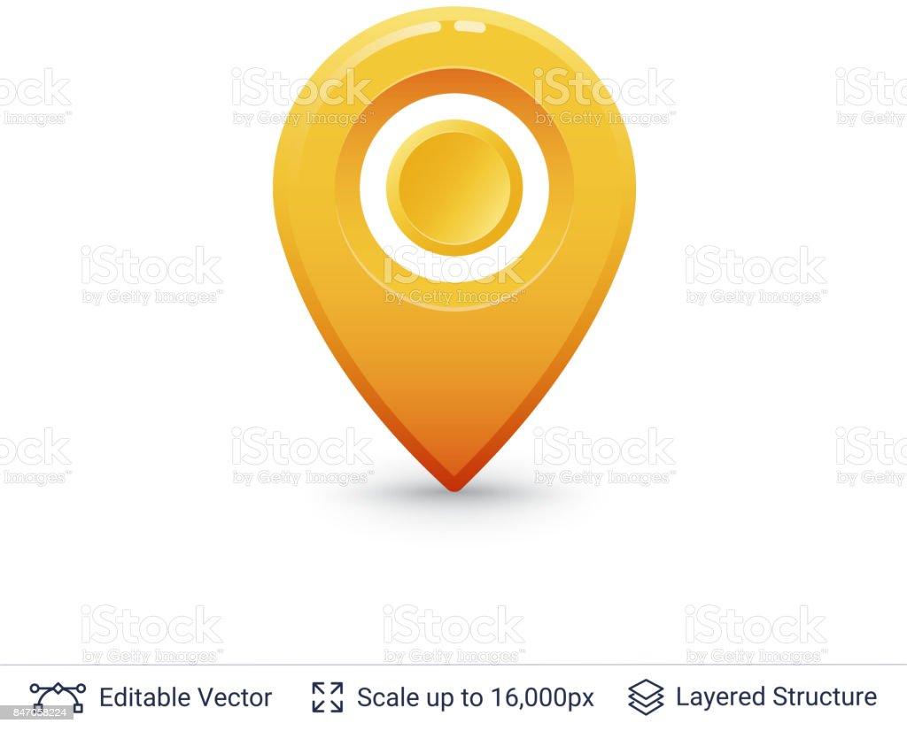 Bright location pin. vector art illustration