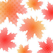 Bright maple leaves from small halftone circles on a white background. Template for banner and advertising, flyer, business card. Vector illustration for your design.