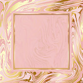 Abstract background, vector marble texture imitation. Marbleized pattern vector. Wedding invitation template with liquid ink background. Rose and gold marble texture effect.