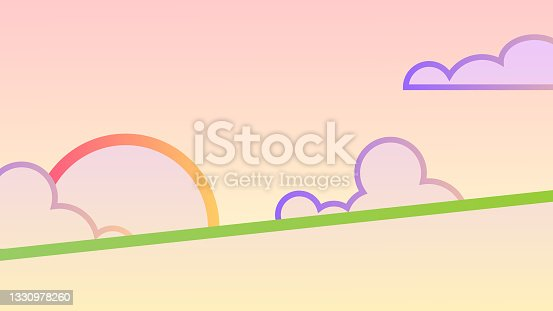 istock Bright minimalistic landscape banner - Sun with clouds on the green horizon. 1330978260