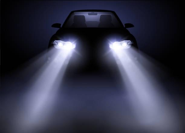 Helle moderne Auto Scheinwerfer Fahrzeugbeherrschung – Vektorgrafik