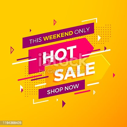 istock Bright modern Hot Sale banner for advertising discounts. Vector template for design special offer poster 1194368425