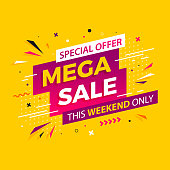 Bright modern Mega Sale banner for advertising discounts. Vector template for design special offer poster.