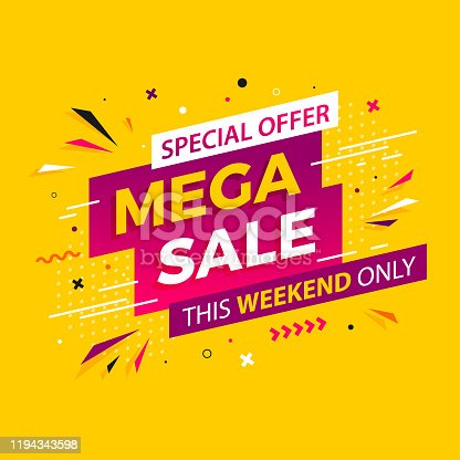 istock Bright modern Mega Sale banner for advertising discounts. Vector template for design special offer poster. 1194343598