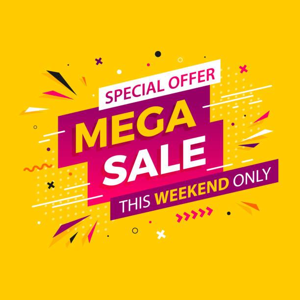 stockillustraties, clipart, cartoons en iconen met heldere moderne mega verkoop banner voor reclame kortingen. vector sjabloon voorontwerp speciale aanbieding poster. - uitverkoop