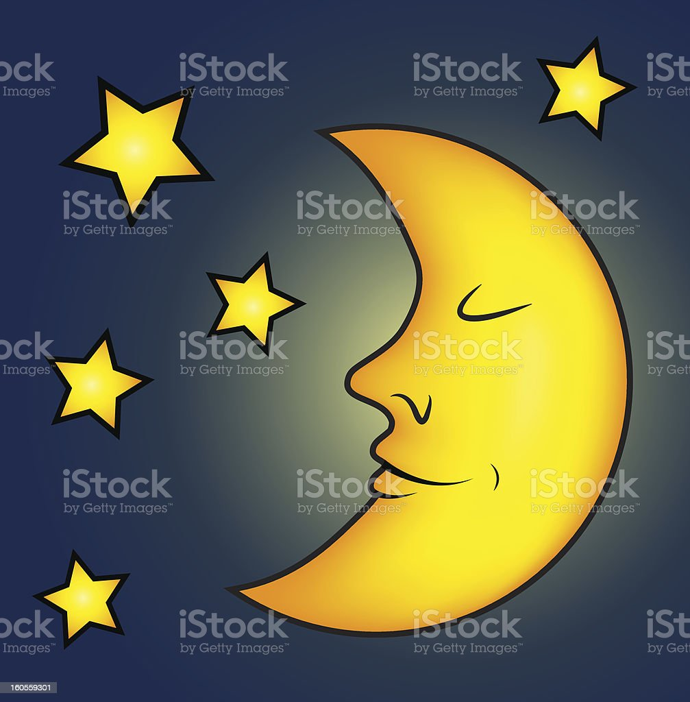 Bright moon and stars vector art illustration