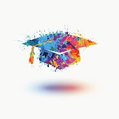 Bright mortar Board (Graduation Cap) vector watercolor icon