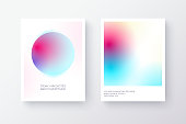 Bright multicolor modern gradient poster or card design with circles. Vibrant color transition. Vector illustration.