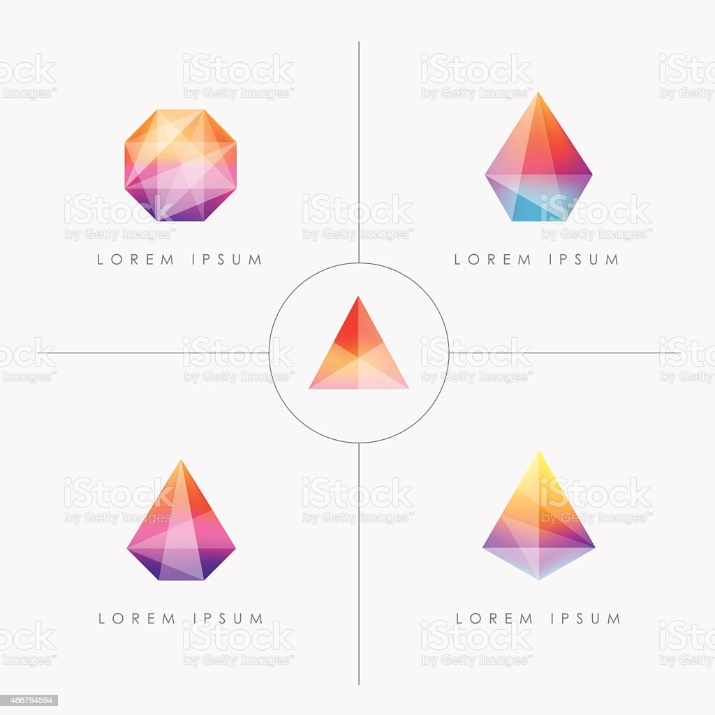 bright multicolored geometric polygon facet crystal gem icons vector art illustration