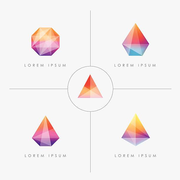 bright multicolored geometric polygon facet crystal gem icons vector art illustration