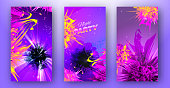 Multicolored bright backgrounds templates for party evens. Including funnel, nebula with explosion and abstract flowers . used clipping mask.