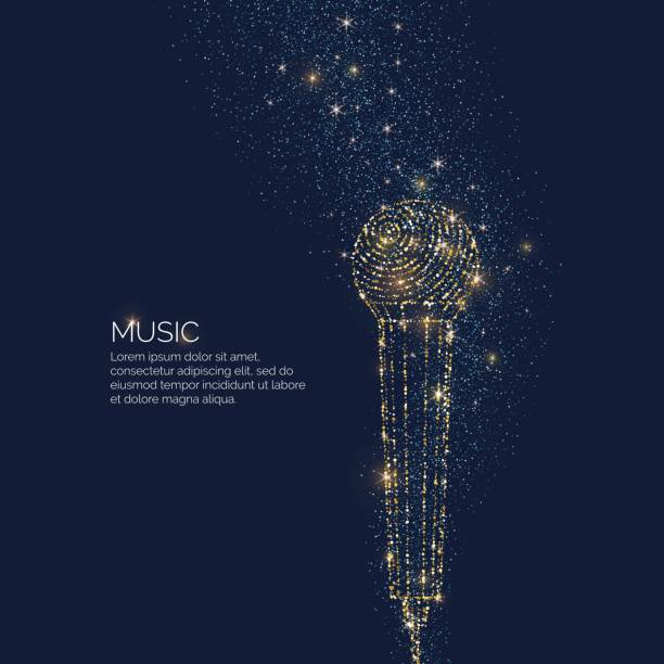 bright music poster with microphone of glitter place for text. vector illustration - śpiewać stock illustrations