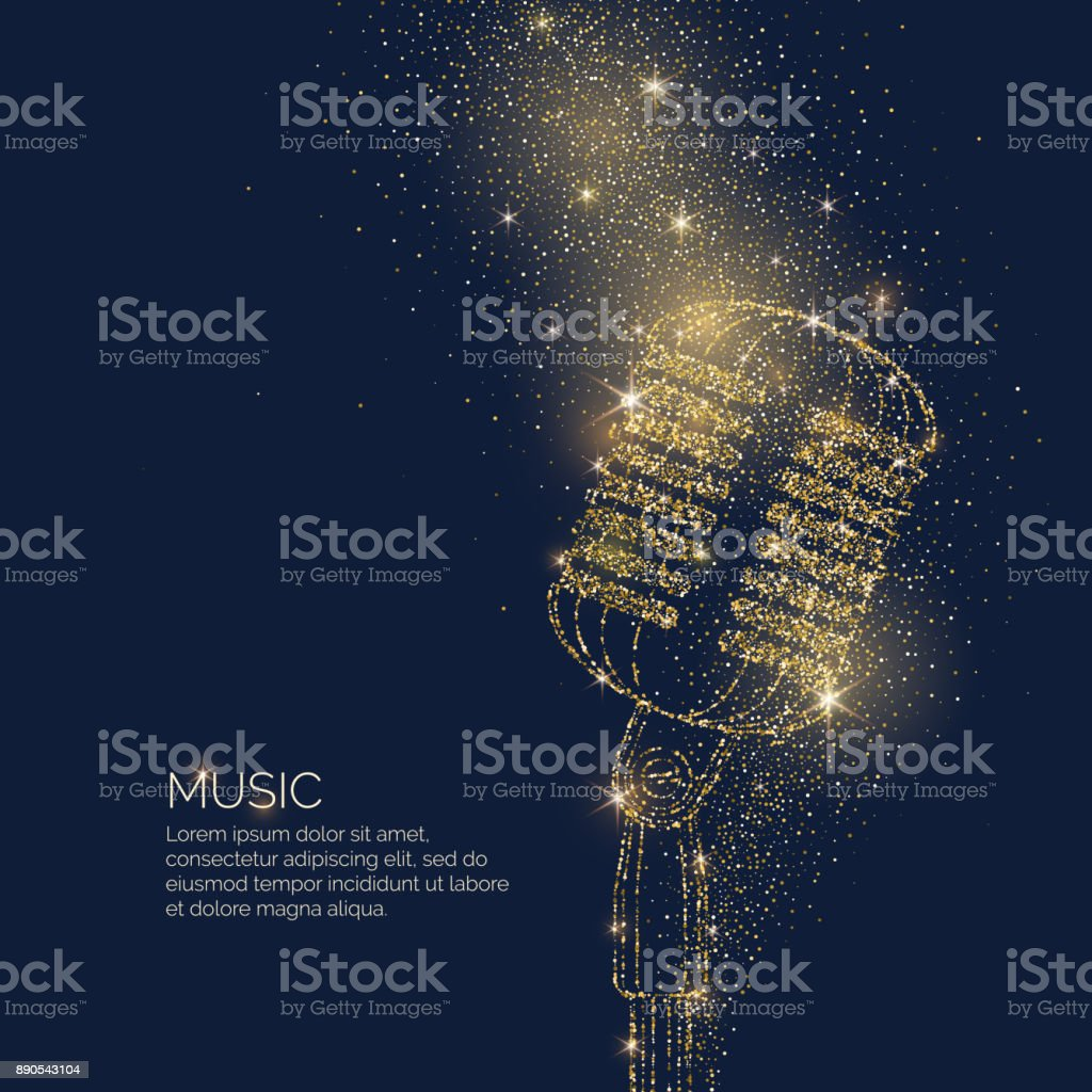 Bright music poster with microphone of glitter place for text. Vector illustration