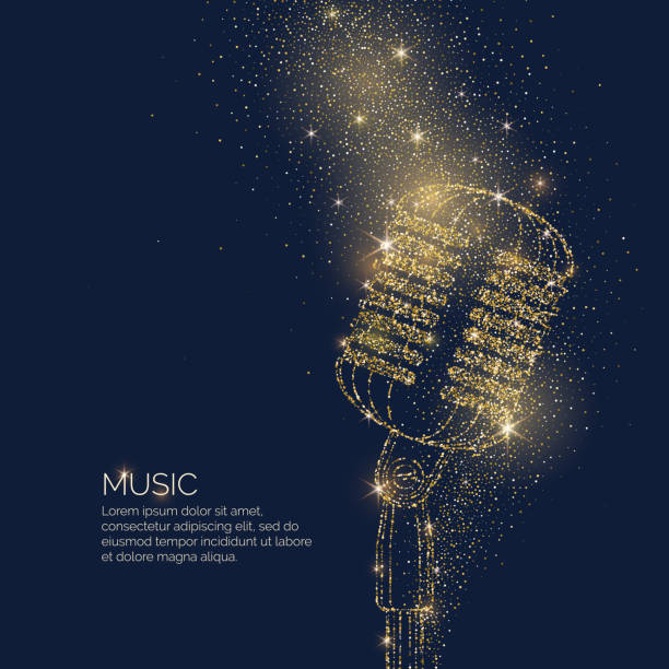 bright music poster with microphone of glitter place for text. vector illustration - blue silhouettes stock illustrations