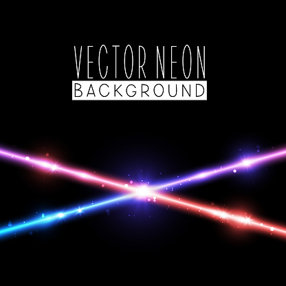 Bright neon crossed lines on black background - vector shiny colliding elements on dark