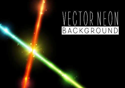 Bright neon crossed lines on black background - vector shiny elements