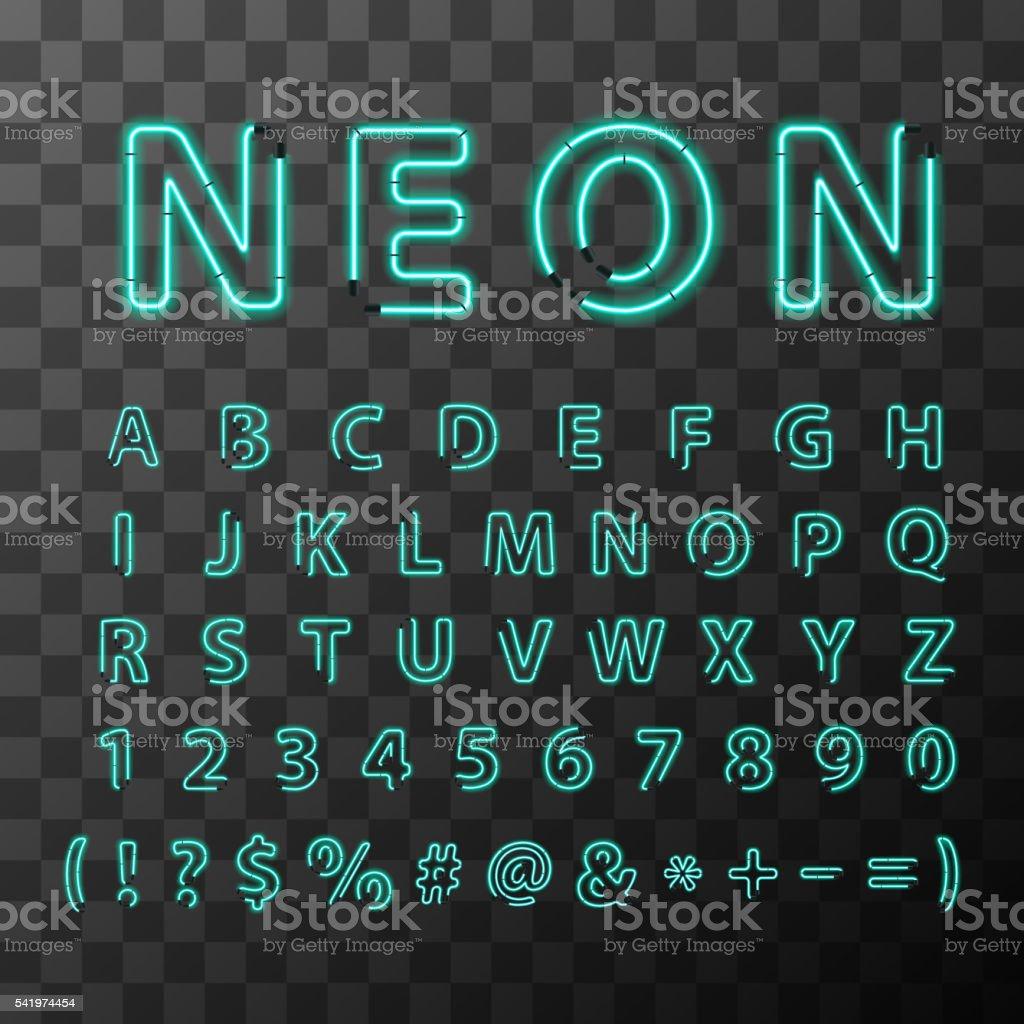Bright neon letters, full latin alphabet on transparent background vector art illustration