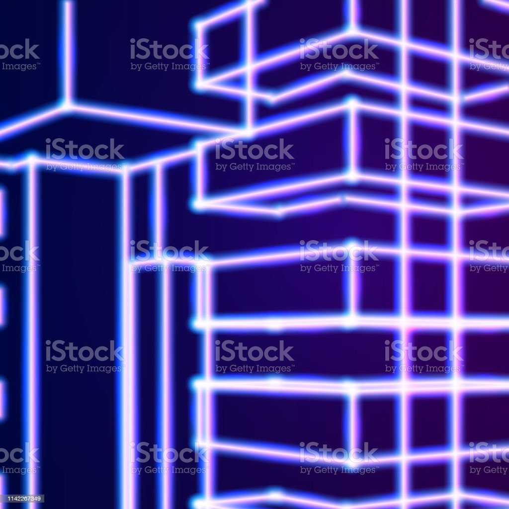 Bright Neon Lines Abstract Background With Retro Computer