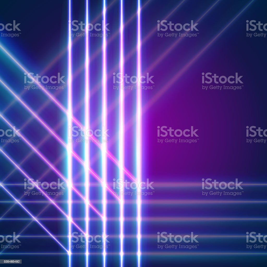 Bright neon lines background vector art illustration