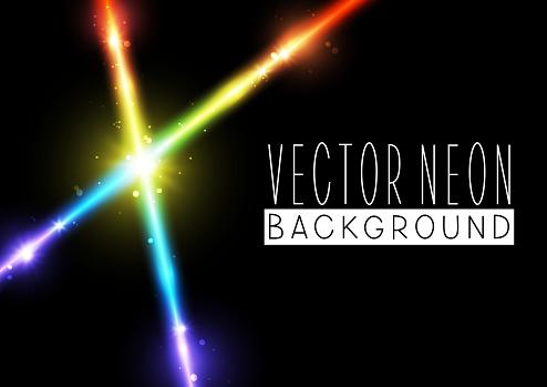 Bright neon rainbow crossed lines on black background - vector shiny  iridescent elements