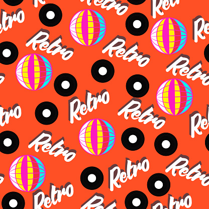 Bright neon retro disco design seamless pattern vector