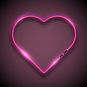 Bright neon sign in form of heart. Retro neon heart sign. Happy Valentine Day concept. Vector illustration.